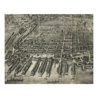 Vintage Pictorial Map of Hoboken NJ (1904) Poster