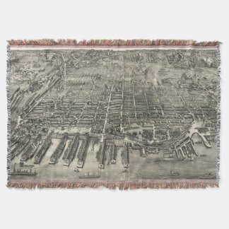 Vintage Pictorial Map of Hoboken NJ (1904) Throw Blanket