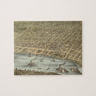 Vintage Pictorial Map of Memphis Tennessee (1870) Jigsaw Puzzle