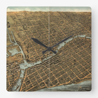 Vintage Pictorial Map of Milwaukee (1872) Square Wall Clock