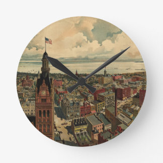 Vintage Pictorial Map of Milwaukee WI (1898) Round Clock