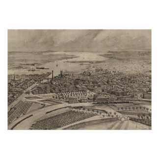Vintage Pictorial Map of Providence RI (1896) Poster