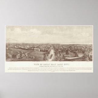 Vintage Pictorial Map of Salt Lake City (1867) Poster