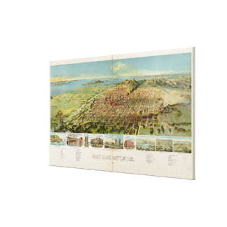 Vintage Pictorial Map of Salt Lake City (1891) Gallery Wrapped Canvas