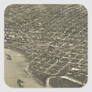Vintage Pictorial Map of Sioux City Iowa (1888) Square Sticker
