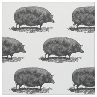 Vintage pig etching fabric