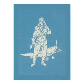 Vintage Pilot and Airplane Art Poster