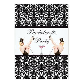 Vintage Pin Up Show Girls Damask Bachelorette 13 Cm X 18 Cm Invitation Card