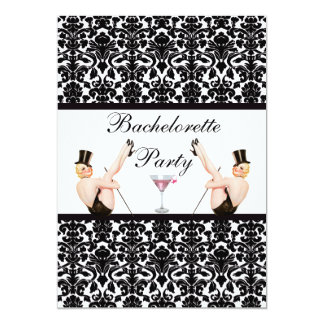 Vintage Pin Up Show Girls Damask Bachelorette 5x7 Paper Invitation Card