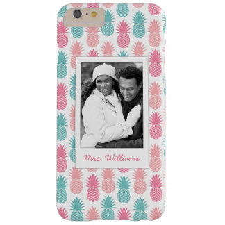 Vintage Pineapple Pattern | Add Your Photo & Name Barely There iPhone 6 Plus Case
