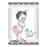 Vintage Pink and Grey Baby Girl Shower 13 Cm X 18 Cm Invitation Card