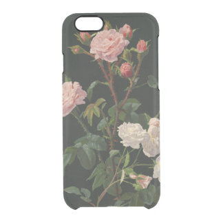 Vintage Pink and White Roses Clear iPhone 6/6S Case