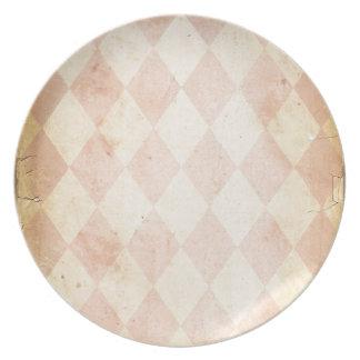 Vintage Pink Diamond Print Dinner Plates