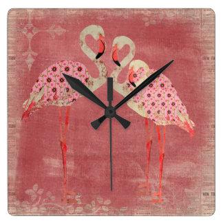 Vintage Pink Floral Flamingos Clock
