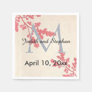 Vintage Pink Florals, Botanical Wedding Monogram Disposable Napkins