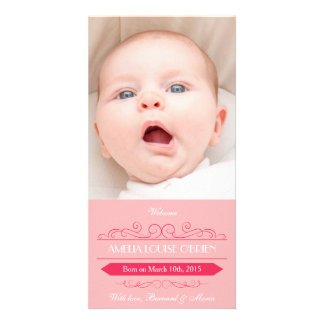 Vintage Pink Girl Birth Announcement Photocard Personalised Photo Card
