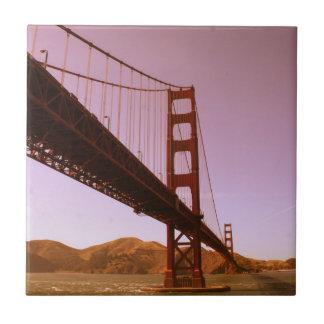 Vintage Pink Golden Gate Bridge Photo Edit Tile
