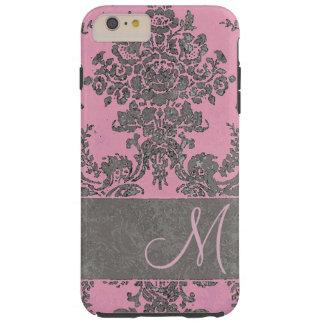 Vintage Pink Gray Damask Pattern Monogram Tough iPhone 6 Plus Case