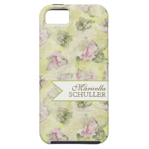 Vintage Pink Hydrangea French Wallpaper Floral Art iPhone 5 Case