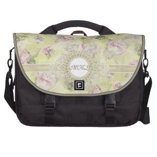 Vintage Pink Hydrangea French Wallpaper Floral Art Laptop Commuter Bag