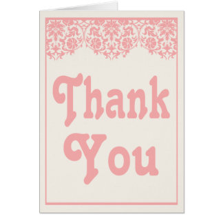 Vintage Pink Lace Thank You Damask Floral Card