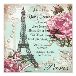"Vintage Pink Paris Baby Shower Invitations 5.25"" Square Invitation Card"