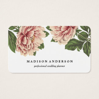 Vintage Pink Peonies Business Card