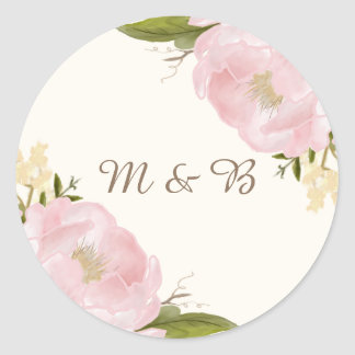 Vintage Pink Peonies Wedding Monogram Sticker