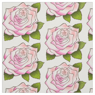 Vintage Pink Rose Drawing Fabric