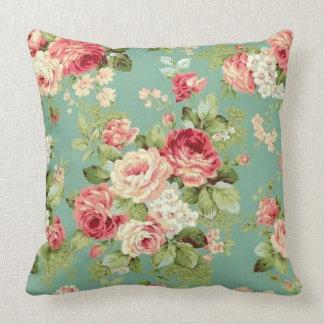 Vintage Pink Roses on Green Wallpaper Print Throw Cushion