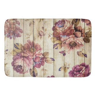 Vintage Pink Roses on Wood Bath Mat Bath Mats