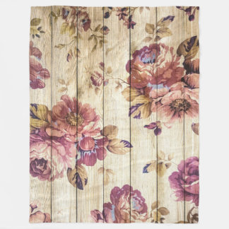 Vintage Pink Roses on Wood Fleece Blanket