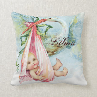 Vintage Pink Stork Baby Girl Nursery Pillows