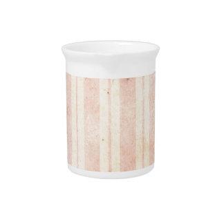 Vintage Pink Stripes Beverage Pitcher