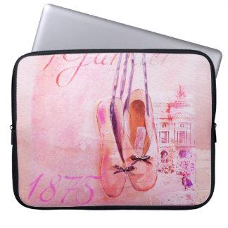 Vintage Pink Watercolor Ballerina Dancer Ballet Laptop Sleeve