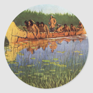 Vintage Pioneers, Great Explorers by Remington Classic Round Sticker