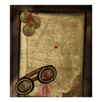 Vintage Pirate Map, Gold Coins and Vintage Look Poster