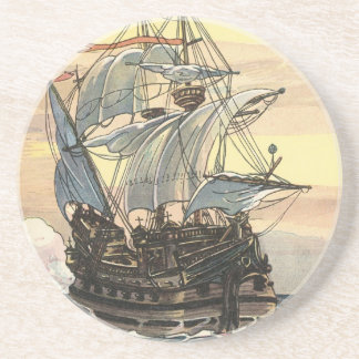 Vintage Pirate Ship, Galleon Sailing on the Ocean Coaster