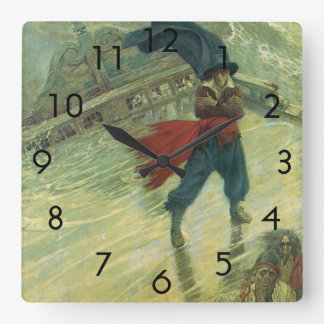 Vintage Pirate, The Flying Dutchman by Howard Pyle Square Wall Clock