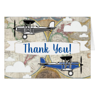 Vintage Planes & World Map Adventure Thank You Card