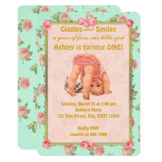 Vintage Playful Girl Birthday Invitations 1st One