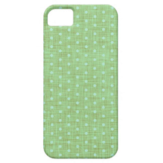 Vintage Polka dot fabric texture pattern in green iPhone 5 Carcasas