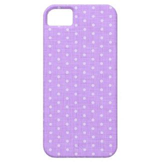 Vintage Polka dot fabric texture pattern in Violet iPhone 5 Funda