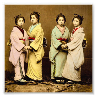 Vintage Portrait of Four Geisha Old Japan Photo Art