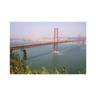 Vintage Portugal, Tejo River Bridge Lisbon Stretched Canvas Print