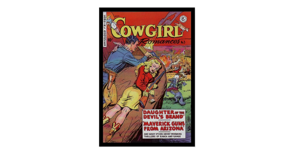 Book Covers Nz ~ Vintage poster comic book covers cowgirl zazzle nz