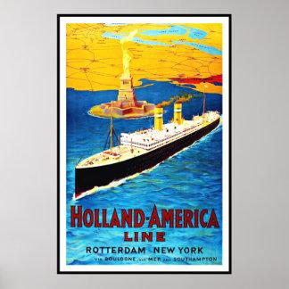 Vintage Poster Print Rotterdam Holland Amercia