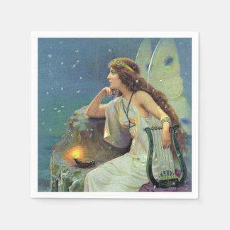 Vintage Pretty Fairy Fae Harp Candle Ocean Paper Serviettes