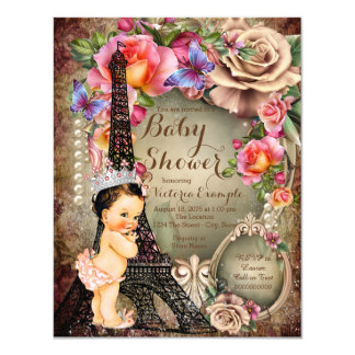 Vintage Princess Eiffel Tower Paris Baby Shower Card