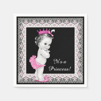 Vintage Princess Pink and Black Baby Shower Paper Napkins